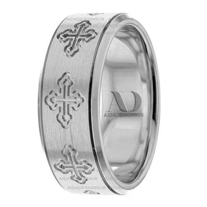 Rr282552 8mm Wide Christian Wedding Ring Aida Designs Us